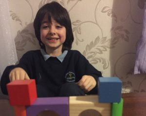 Jacob using building blocks